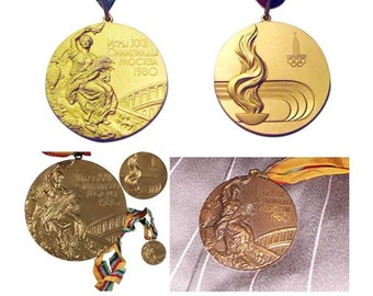 Moscow 2008 Olympic Medals Set (Gold/Silver/Bronze with Ribbons !!!
