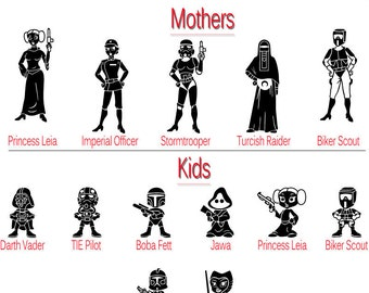 Star Wars Silhouettes Family Stick Figure SVG Cut Files Instant Download
