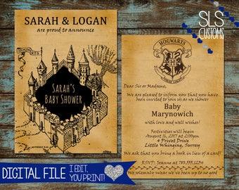 Harry Potter Marauder's Map Themed Printable Baby Shower Invite! - DIGITAL FILES