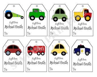 Printable Personalized Cars Gift Tags, Cars, trucks  and Vehicles, Personalized gift tags by Swell Printing