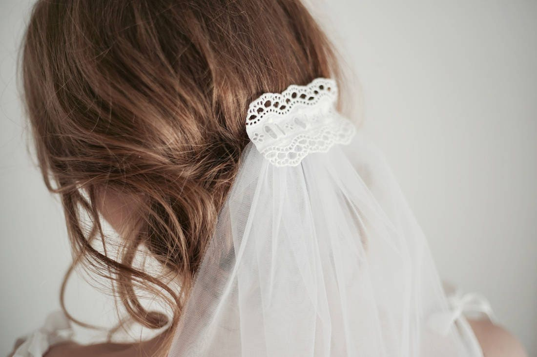 Tulle Veil, Wedding Veil, White Tulle Veil, Bridal Veil Short, Tulle ...
