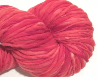 Bulky Handspun Yarn Almost Solid Red 144 yards hand dyed merino wool red yarn waldorf doll hair knitting supplies crochet supplies