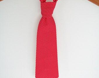 Little Boys Necktie, Toddler Tie, Red Neck Tie, Birthday, Cake Smash, Wedding, Red Pindot, Ivory Cream Polka Dot