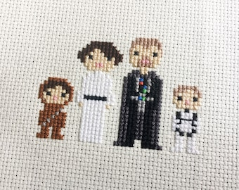 Custom Star Wars Cross Stitch Family Portrait in Pixel Art Style (Framed)