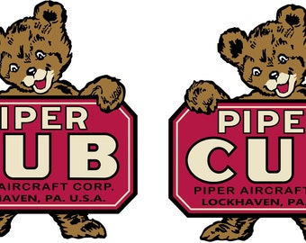2 Vintage  Piper Cub Decals  FREE Shipping in USA