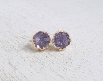 Purple Druzy Studs, Druzy Earrings, Amethyst Druzy Studs, Amethyst Earrings, Gold Druzy Studs, Small Stone Everyday Studs, Wife Gift, G7-308