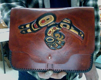 I Pad Case / Leather / Custom / Hand Carved and Tooled /Raven/ Bear / Alaskan / Native / Handmade / Totem,  Design's / Tablet / Cover / Case