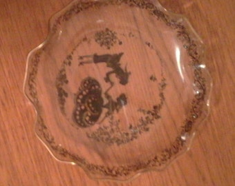 Vintage Glass Ruffled Edge Bowl - Courting Couple Scene