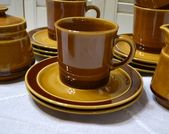 Vintage Cups Saucers Sugar Bowl Creamer Brown 16 Pieces Replacement PanchosPorch