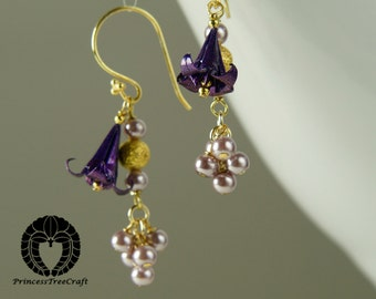 Origami Jewelry, Origami Lily Earrings - Purple (violet) lily