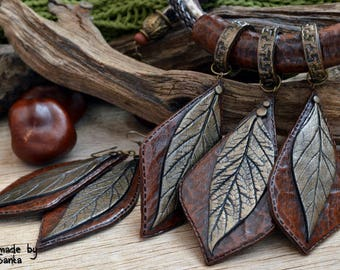Statement jewelry Statement necklace Polymer clay jewelry for women Brown jewelry Brown necklace Autumn leaves Autumn jewelry Fall leaves