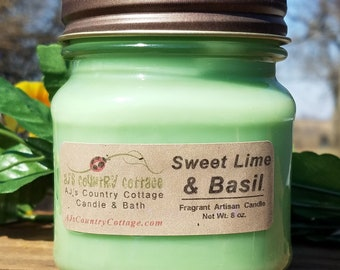 SWEET LIME BASIL Candle - Lime Candles, Herb Candles, Herbal Candles, Fruit Candles, Strong Candles, Mason Jar Candles