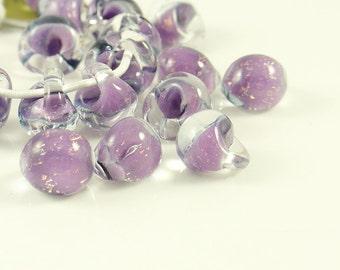 10mm Unicorne Tear Drop Lampwork Beads - Twilight Glitter - 4 Pieces - 22097