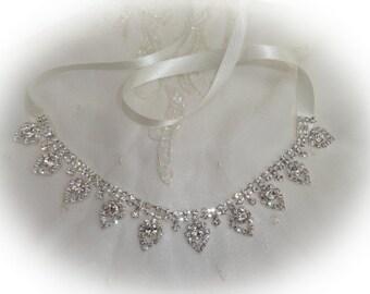 1920's flapper Gatsby style rhinestone ivory ribbon forehead headband wedding party