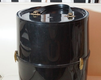 1960s Hat Box / 60s Wig Case with Wig Stand / Hat Storage Case / Large Cylinder Black Vinyl Carrying Case / Mod Travel Tote or Suitcase