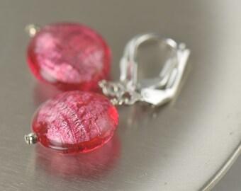 Pink Glass Earrings pink murano Glass Earrings Pink Dangle Earrings  for her