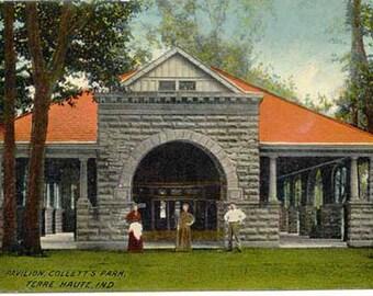 Collett's Park Pavilion Terre Haute Indiana Vintage Postcard