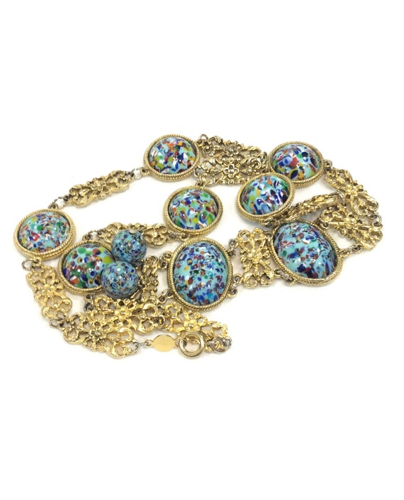 Accessocraft Gold & Lucite Necklace, Floral Filigree, Blue Confetti Cabs, Long Statement Y Style Necklace, Vintage 1960s Mod Fashion Jewelry