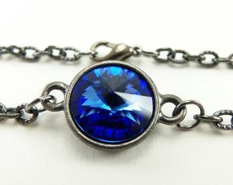 Blue Sapphire Bracelet September Birthstone Bracelet Crystal September Birthday Dark Silver Gunmetal Modern