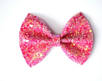 Bubblegum Pink Glitter Bow Photo Prop Pictures Headband for Newborn Baby Little Girl Child Adult Spring Summer Valentines Easter Clip