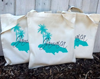 20+ Jamaica Island with Palm Trees Custom Canvas Wedding Tote Bags - Eco-Friendly Natural Cotton Canvas