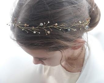 Gold Bridal hair vine, wedding hair Jewelry