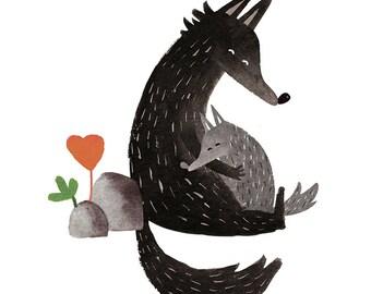 Loving wolf Print