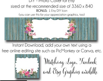 DIY Etsy Cover Photo - Add your own Text, Instant Download, The Sabrina, New Cover Photo For Etsy, Made to Match Graphics