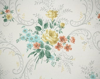 1950s Vintage Wallpaper by the Yard - Floral Vintage Wallpaper Orange Blue and Yellow Rose Bouquets