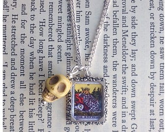 The Empress tarot card picture charm necklace, tarot jewelry, skulls, skull jewellery