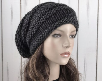 Hand knit hat woman unisex wool hat Oversized charcoal Chunky Slouchy hat - ready to ship