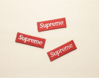 "Supreme patch, iron on patch 1.8""x0.6"""