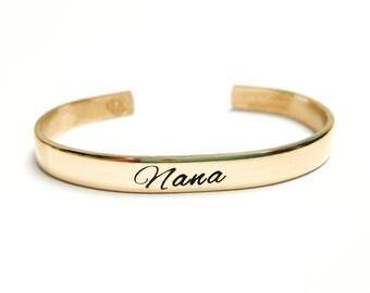 Nana Bracelet - Custom Bracelet - Nana Birthday Gift - Nana Cuff Bracelet - Nana Gift - Nana Jewelry - Personalized Bracelet - Custom Cuff