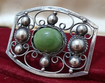 Vintage Solid Silver Brooch, Made in Mexico, Mexican jade, Purity 950