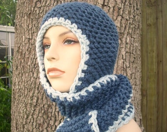 Blue Hooded Scarf Chunky Knit Hat Womens Hat - Garter Nomad Scarf Hat Blue Knit Hat - Blue Hat Blue Scarf Womens Accessories Winter Hat