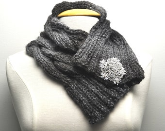 Knit Cable Cowl in Grey Ombre with decorative pin