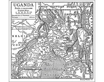 Uganda, Instant Download Pre-World War I Map 1910, Monochrome, Lake Victoria, Kampala,  Gulu, Lira, Mbarara, Jinja, Bwizibwera, 4 megapix