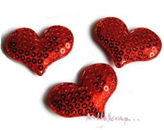 Set of 5 hearts red fabric sequins embellishment scrapbooking card (ref.310) *.