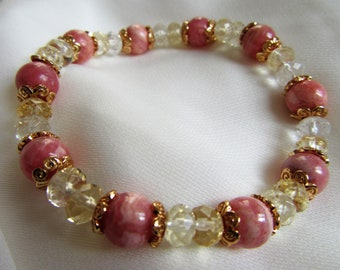 Magnetized rhodochrosite and citrine bracelet
