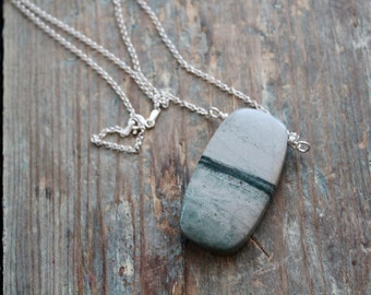 Sterling silver Ocean Jasper necklace - Stone necklace - Meditation Necklace - Beach lover jewelry - Gift for New Mom - Ocean Jewelry