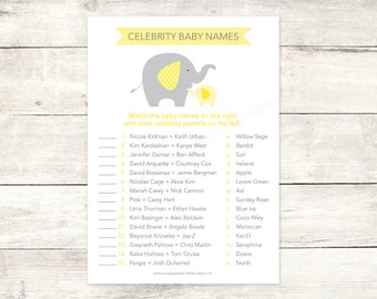 celebrity baby names matching game card printable elephant baby shower DIY yellow grey baby shower digital games - INSTANT DOWNLOAD