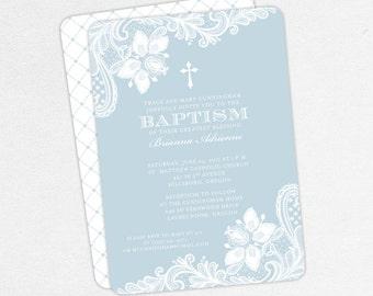Baptism Invitation, Christening Invitation, Girl Baptism, Printable Baptism Invitation, PDF, Lace, Burlap, Rustic, jpg, Cross, Blue, Brianna
