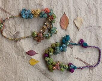 Short fiber necklace, crochet statement jewelry, multicolor, OOAK