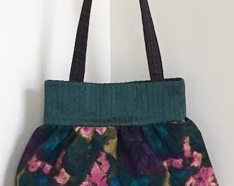 Shoulder purse tote bag, Impressionist floral print