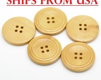 "50 Wooden Buttons 1 1/4"", Craft Supplies, 32mm Button, Bulk Wood Buttons, Natural Finish, Wholesale Buttons"