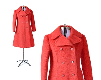 Red Coat,  Red peacoat, Small, Womens Red coat,1960s Coat, Red Coat, Mod Coat, Womens vintage Coat, small winter coat, size small