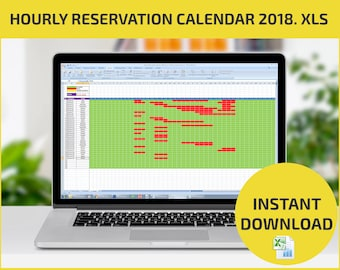 Appointment Scheduling and Hourly Reservation Booking Calendar 2018 XLS Excel/ Daily Booking System. Interactive visual schedule