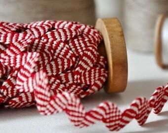 Linen Rickrack - Red and Natural Stripes