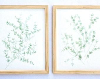 Eucalyptus set of 2, Downloadable and Printable watercolor art, Eucalyptus Set of 2 watercolor print, Wall art, Home decor, Botanical,