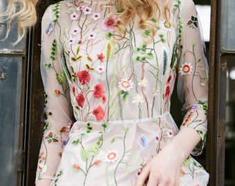 Fine Art Collection two pieces nude transparent floral blossom embroidery sexy romantic spring goddess dress